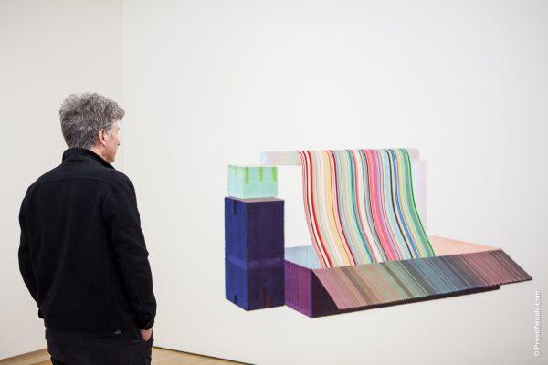 Man die kunstwerk met kleurrijke strepen bekijkt