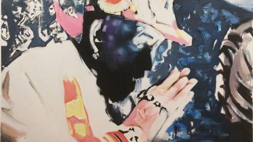 Schilderij van biddende man met rode pet