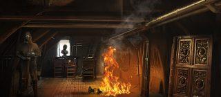 Foto van de kasteelzolder die in brand staat.