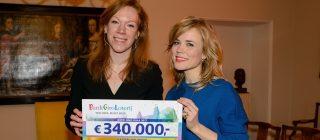 Twee personen met een Bank Giro Loterij cheque.