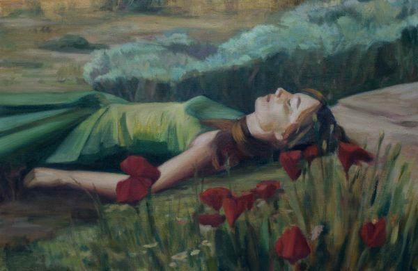 Schilderij van een vrouw liggend in het gras