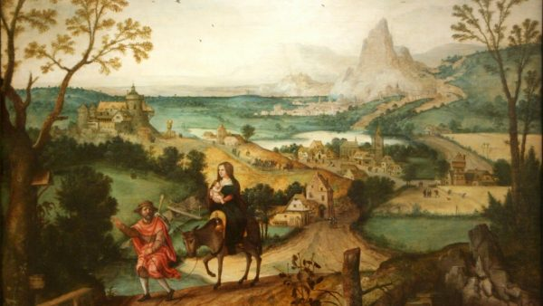Schilderij met man en vrouw met kind op ezel