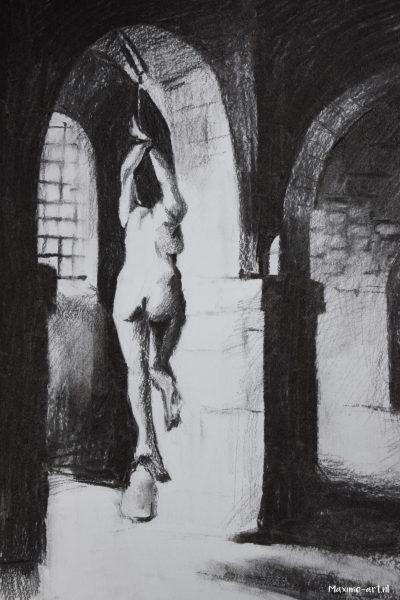 Muurschildering van opgehangen heks