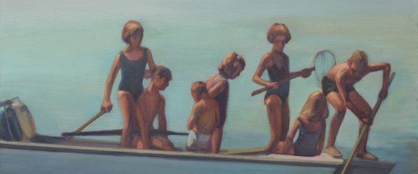 Schilderij van kinderen roeiend op een boot