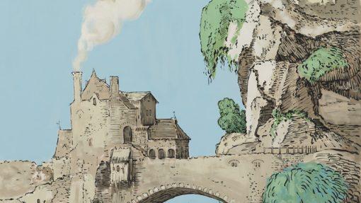 Tekening van brug met gebouw tegen een berg aan