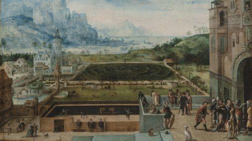 Panoramisch uitzicht op een Renaissancepaleis