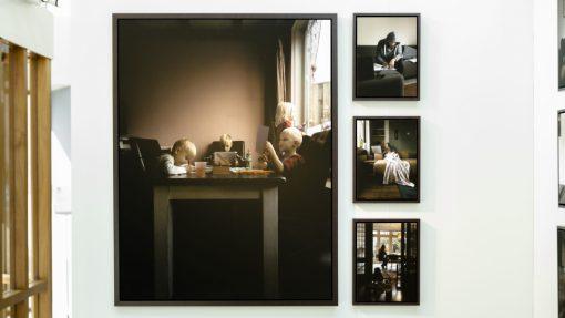 Vier afbeeldingen van thuissituatie tijdens corona